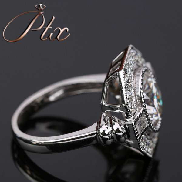 luxury style vvs clarity synthetic moissanite DEF White color diamond 18k white gold ring for engagement wedding ceremony