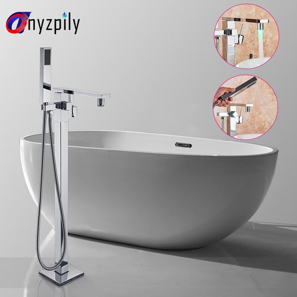 Onyzpily Chrome robinet de la baignoire Salle de bains gratuite LED sol permanent Robinet mitigeur multifonction froide et chaude du robinet mélangeur