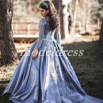 Dusty Blue Ball Gown Quinceanera Dresses Long Sleeve Corset Sweep Train Appliques Beads Prom Party Gowns For Sweet 16 vestidos de 15 anos