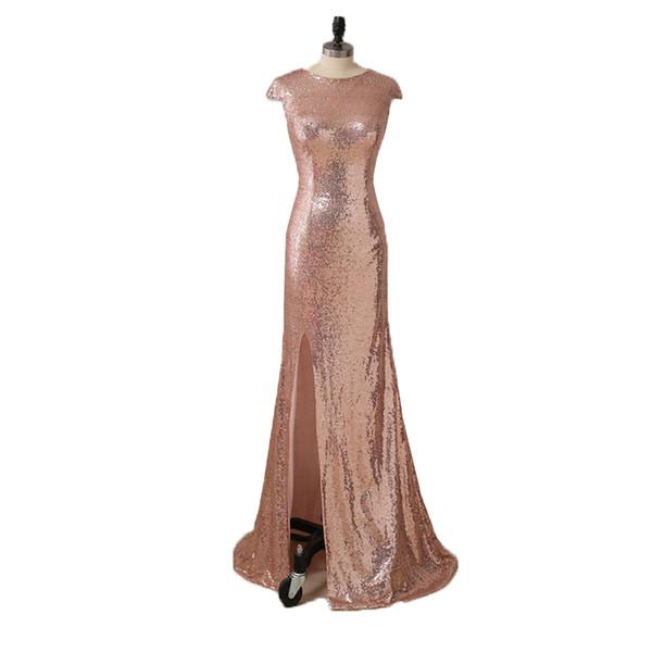 Dark Green Rose Gold Sequin Mermaid Evening Dresses 2019 Split Long Evening Gowns Floor Length Party Dress Elegant