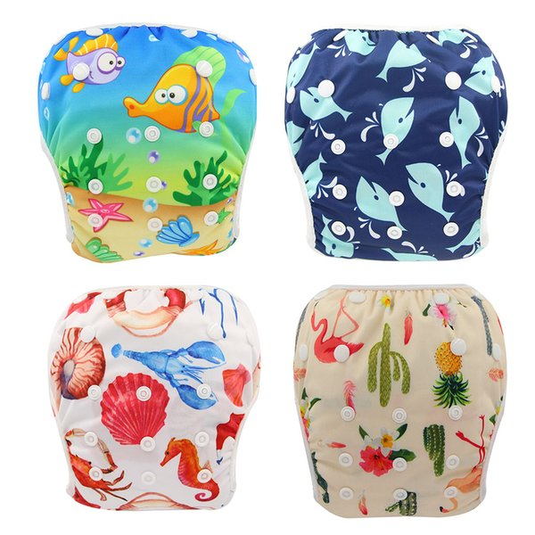 top popular One Size Fits All Unicorn Animals Print Swimming Diaper Baby Boys Girls Waterproof Diapers Newborn Designer Reusable Baby Diaper Nappy Cover 2020