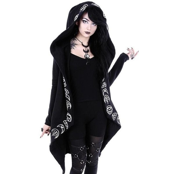 Rosetic Hoodies Gothic Casual Cool Chic Black Plus Size Women Sweatshirts Loose Cotton Hooded Plain Print Female Punk Hoodies Y190828