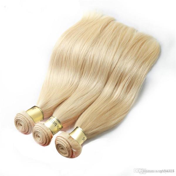 Brazilian Virgin Hair Weave Bundles #613 Blonde Color Straight Human Hair Bundles 3pcs Sew In Hair Weave Free Shipping