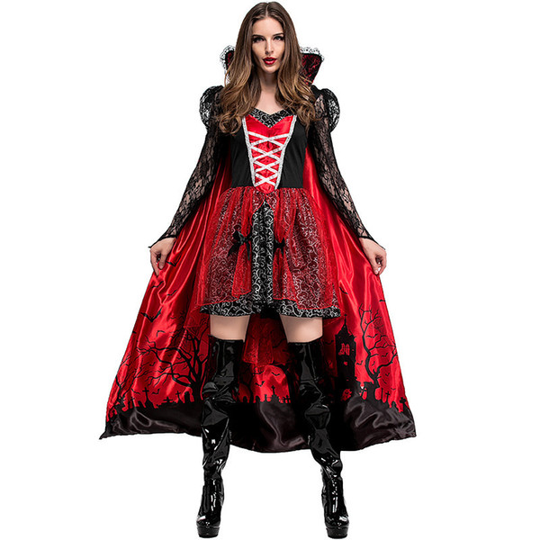 Newest Arrival Theme Party Halloween Role Play Gothic Style Queen Dress Fantasy Evil Vampire Zombie Costume For Adult Women SH190719