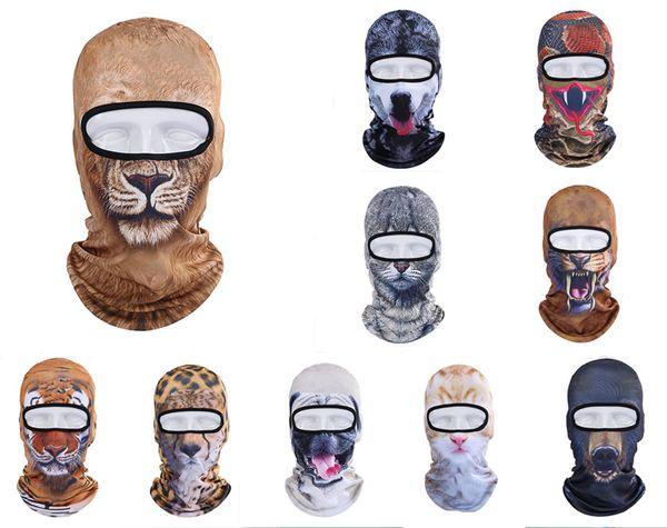 Balaclava Motocicleta Máscara Facial 3D Animal Gato Cão Chapéus Capacete À Prova de Vento Respirável Airsoft Paintball Snowboard Ciclismo esqui