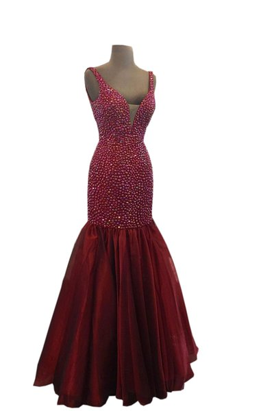 Sparkly Crystal Bodic Prom Dresses 2019 Cheap Long Mermaid Deep V neck organza Burgundy Real Photo Evening Formal Wear Party Dress Gowns