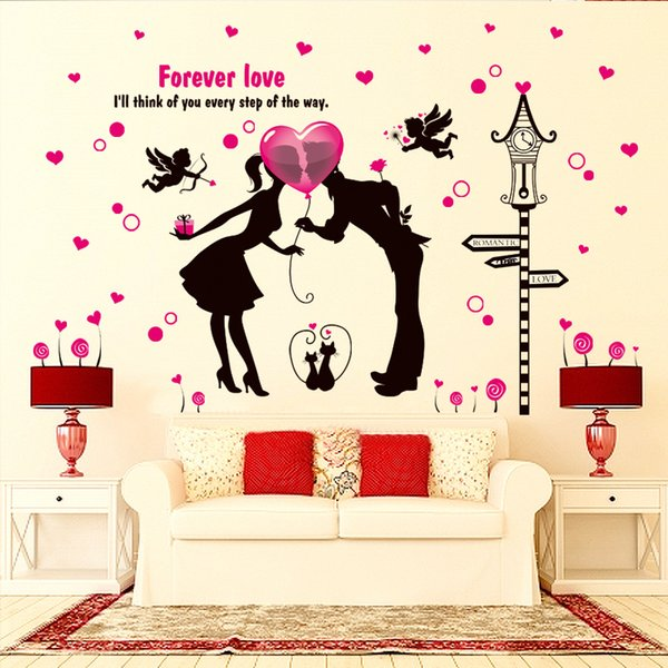 Romantic Valentine Wallpaper Wedding Room Couple Bedroom Removable Cartoon Decorative Wall Sticker wall stickers for loves rooms
