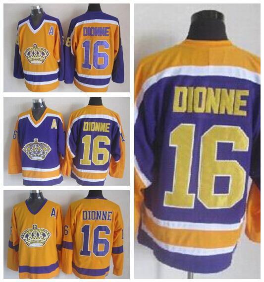 LA Los Angeles Kings 16 Marcel Dionne Hockey su ghiaccio Maglie Home Sport Nero Bianco Giallo terzo supplente superiore qualità in vendita