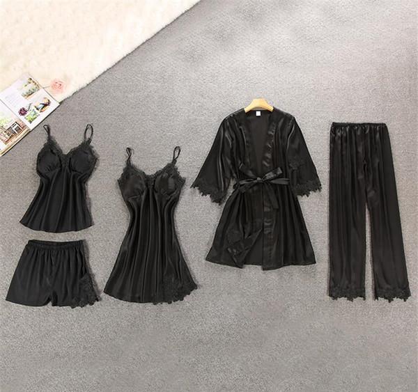 Kadın İpek Satin 5 adet Suit Bayanlar Seksi İpek Saten Pijama Kadınlar İçin Set Kadın Dantel Pijama Takımı pijamalar Sonbahar Kış Ev Giyim gecelikler