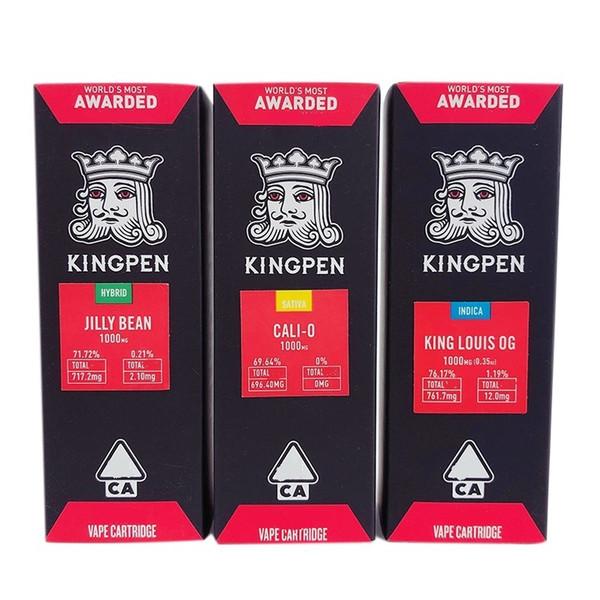 Kingpen cartouche Package 2019 Dernière boîte cadeau 1,0ml enfant Preuve rouge Sitkcer Pour Kingpen Vape cartouches 14 Saveurs