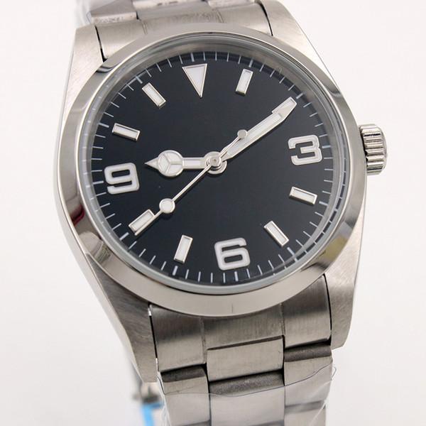 36 MM Paslanmaz Çelik Bilezik Otomatik Mens Watch Saatler Arapça Numarası ve İndeks Saat Belirteçleri Ile Basit Siyah Kadran