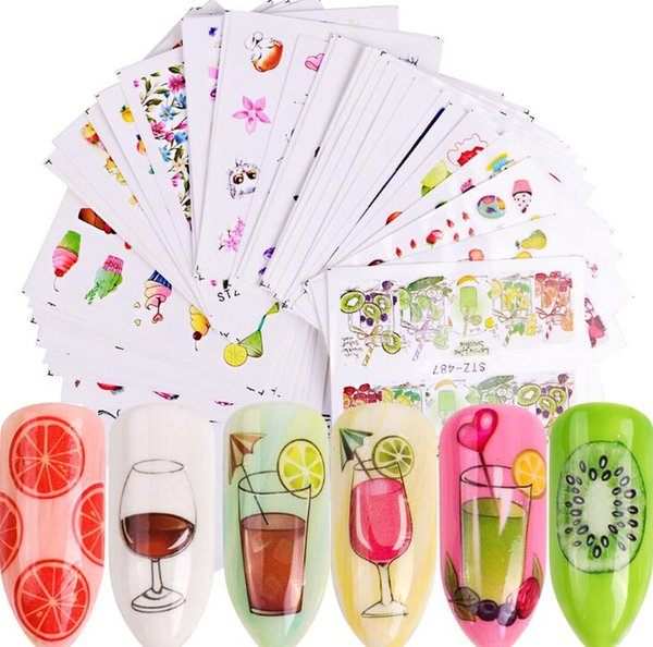 Mee_You Vendita Calda 58 pz Nail Watermark Sticker Tropical Fruit Rossetto Fiori a tacco alto Nail Sticker FAI DA TE per Salon MY0030
