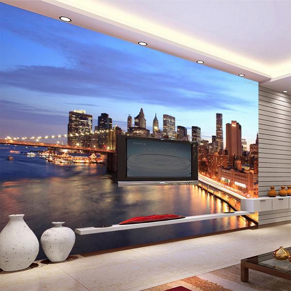 3D Personalizzato Bellissimo cielo da sogno sotto la città di mare notte murale carta da parati TV divano soggiorno parete Wallpaper