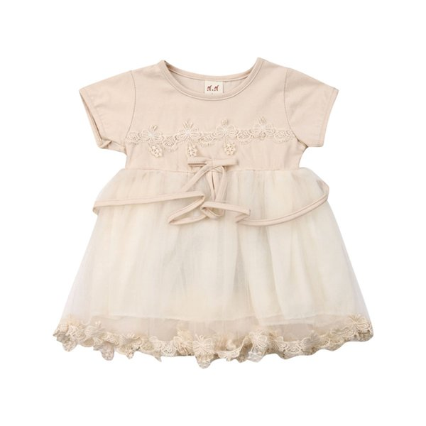 Vestido para niñas 2019 Nueva ropa de verano para bebés Vestido sin mangas para niña Vestidos para niñas Vestidos de novia de encaje floral