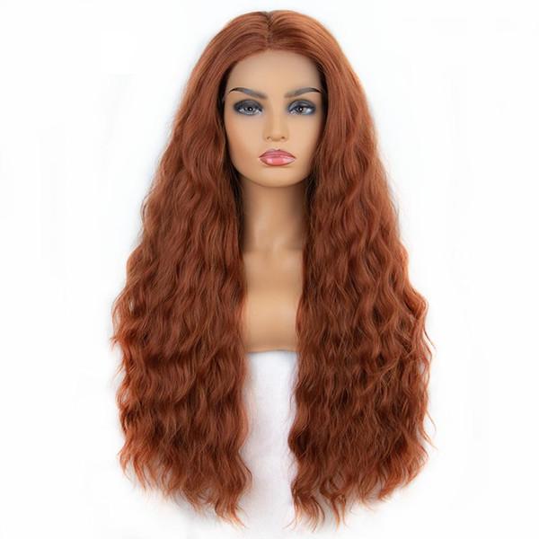 Ondulate lunghe fibra pizzo dei capelli della parte anteriore della parte centrale di rame rosso arancio allentate ondulate termoresistenti parrucche sintetiche per le donne