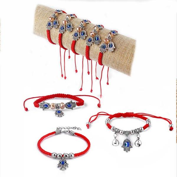 6pcs Kabbalah Palm Hamsa Resin Blue Turkish Eye Red Braided Cotton Cord Amulet Bracelets Bangle Adjustable Jewelry