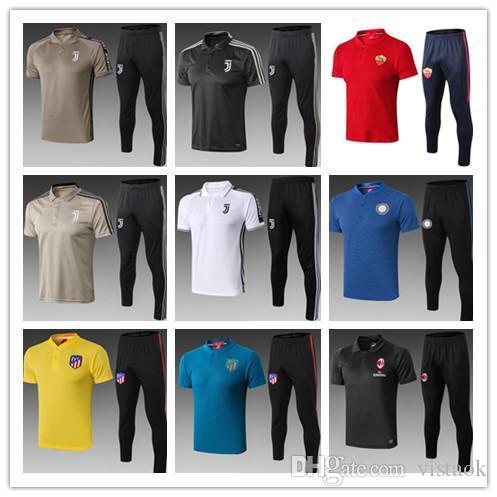 2018-19 RONALDO Messi treino de futebol POLO camisa 18 19 Roma DZEKO manga curta POLO camisa calças compridas treino