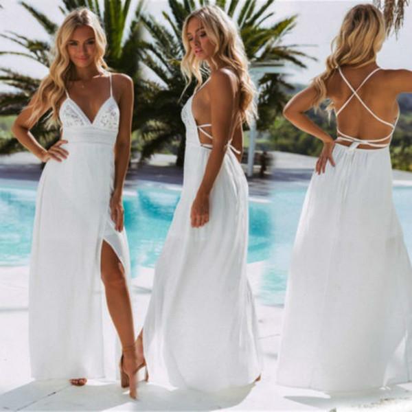 Длинное женское платье с открытой спиной Холтер с V-образным вырезом Макси Бич Богемные платья Сарафан Белая футболка без рукавов Платье дизайнерской одежды