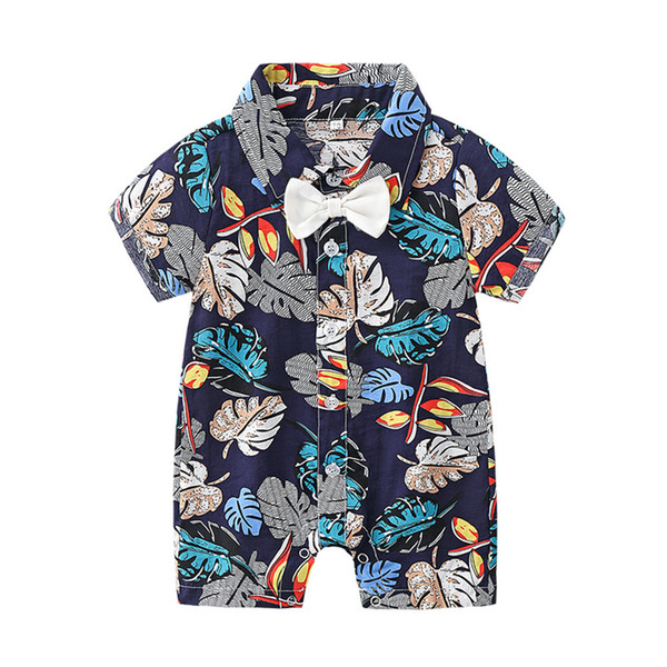 INS Bebek Erkek Yaz Romper Toddler yaprak Tulum Moda Hawaii Tarzı Baskılı Papyon Kısa Kollu Çocuklar Rahat Onesie Y1706