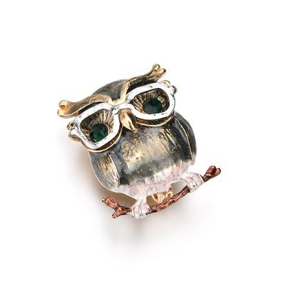 New Style Purple Eule Brosche Big Belly Owl Broschen für Kinder Geschenke Kragen Pullover Clips Gold-Farbe Pins Schmuck b487