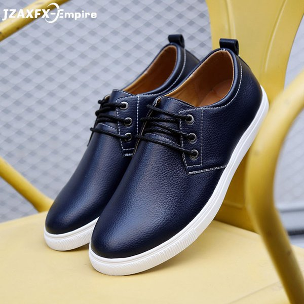 Trend Leather Men Casual Shoes Brand Fashion Sneakers Footwear Black Zapatos Outdoor Male Walking Shoes Men Flats Shoe Man White