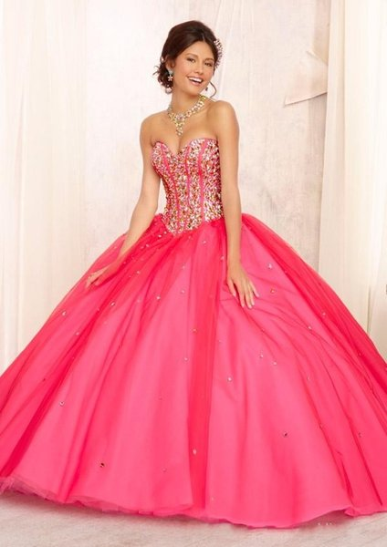 2019 Water Melon Quinceanera Dresses with Jacket 2019 Sweetheart Tulle Crystals Girls Evening Gowns Customized Sweet 16 Pageant Dress