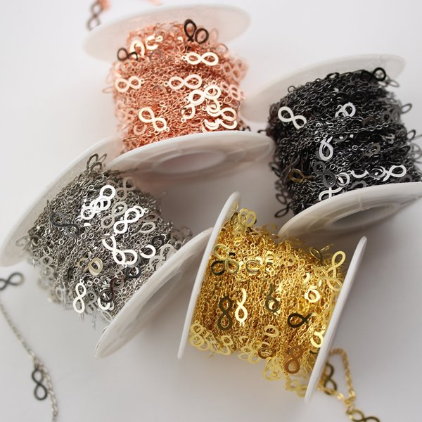 """10mm,""""8"""" Shape Rose Gold/Golden/Silver/Gun Black Plated Copper Chains,Hot Fashion Chokers Chains Necklace Jewelry"""