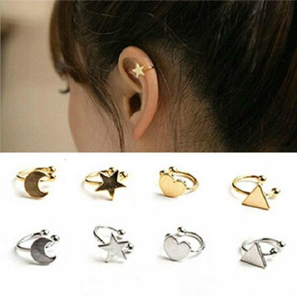 Clip-on For No Non-piercing Heart Moon Fashion Pierced Earcuff Triangle Earrings New Star Jewelry Ear Arrivals Clip 2018 Women