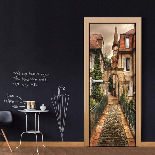 Whole DIY Door Sticker Euopean Castle door decals decorations for Bedroom Living Room wallpapers Decal home accessories