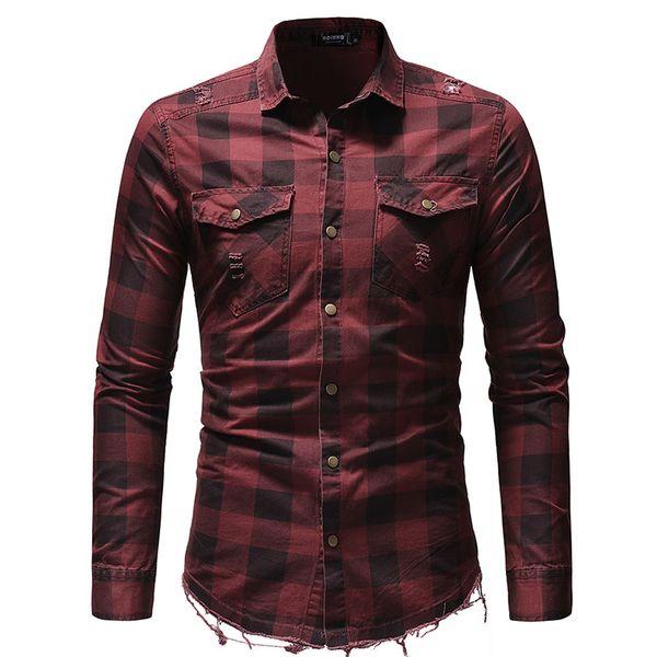 New 2019 men's long-sleeved plaid shirt Korean slim design formal casual men's dress shirt