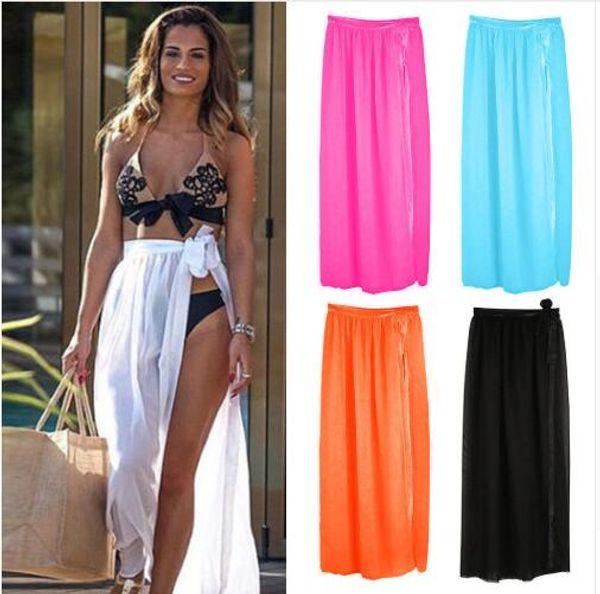 2019 Womens Swim Wear Bikini Cover Up Sheer Beach Mini Wrap Skirt Sarong Pareo Shorts bikini dress Cover-Ups