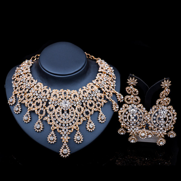 Luxury Vintage Jewelry Set Necklace Earrings Maxi Women Big Pendent CHEAP Statement Collares F1103 with Rhinestones 2 Colors