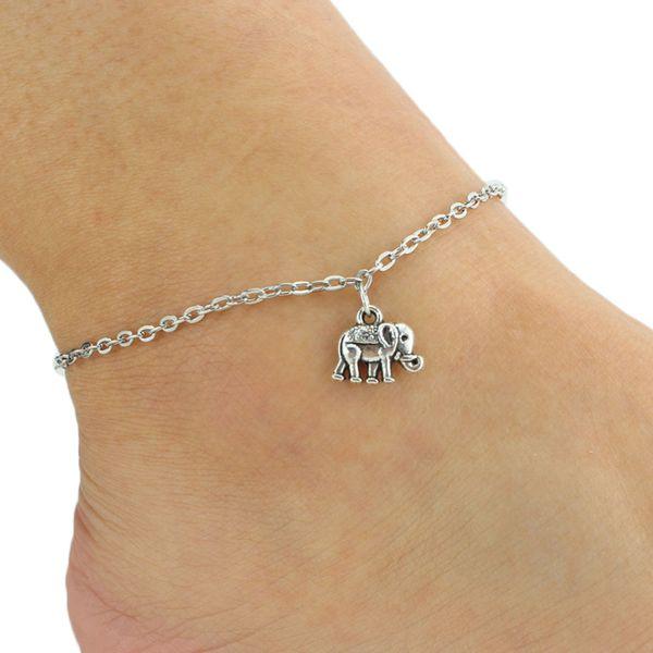 Fashion Vintage Women Elephant Pendant Anklet Retro Ankle Bracelet Foot Chain Beach Barefoot Sandal Summer Beauty Wedding Jewelry Gift