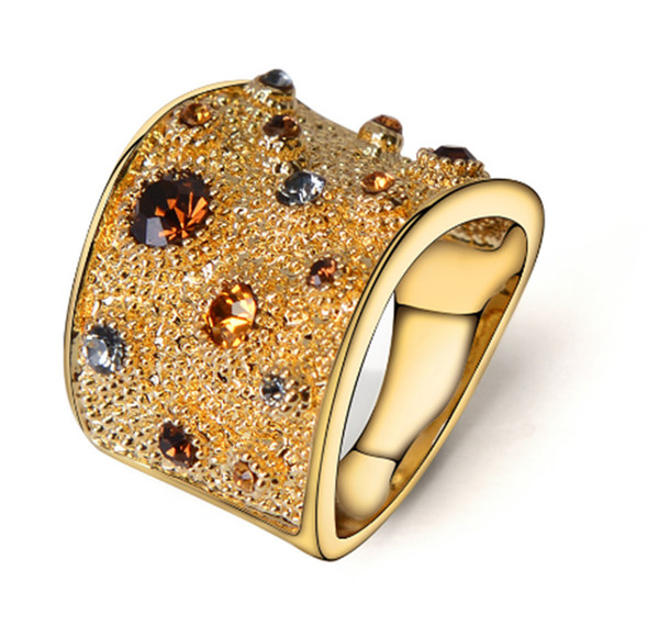 Wide Gold Color Finger Rings For women Multicoloured Rhinestones Paved Cocktail Ring Size 5 6 7 8 9 10 11 12 For Female