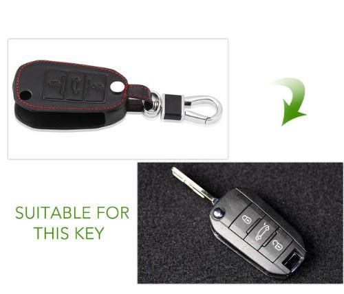 Black Leather Flip Key Case Fob Cover For PEUGEOT RCZ 207 307 308 407 408 508 2008 3008 For Citroen C2 C3 C4 C5 C6 Picasso Xsara