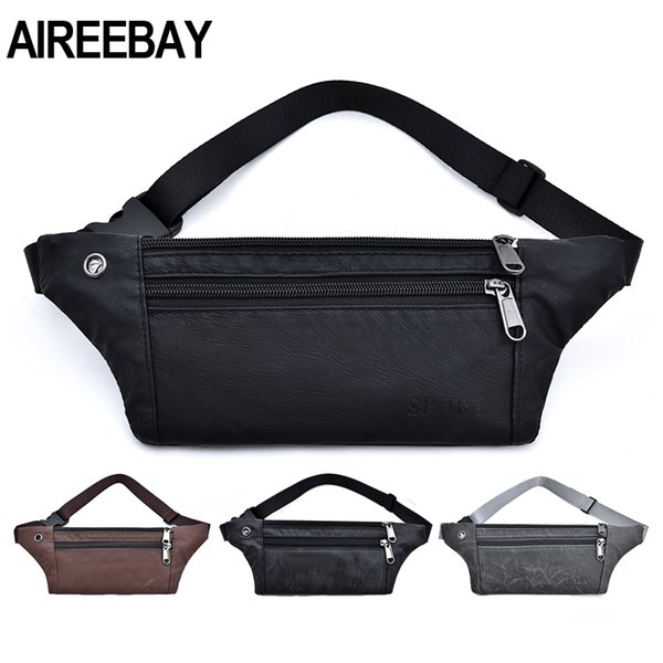 AIREEBAY Casual PU Leather Waist Bag Men Money Phone Fanny Pack Vintage Black Waist Belt Bag Small Travel Hip Bum For Male