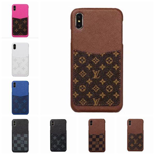 Diseñador de moda de lujo cubierta de cuero de la rejilla del teléfono cubierta trasera para iphone X XS Max XR con estuche para iPhone 6 6s 7 8 más goophone Xs 06