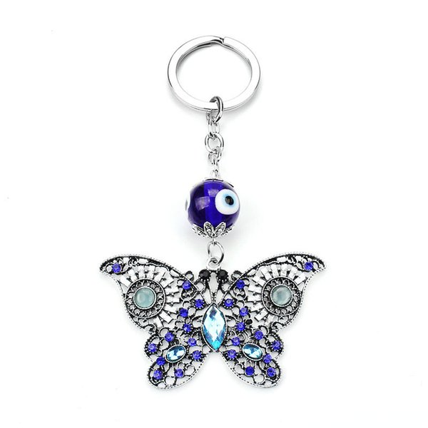 Glass eye pendant butterfly key chain evil eye pendant