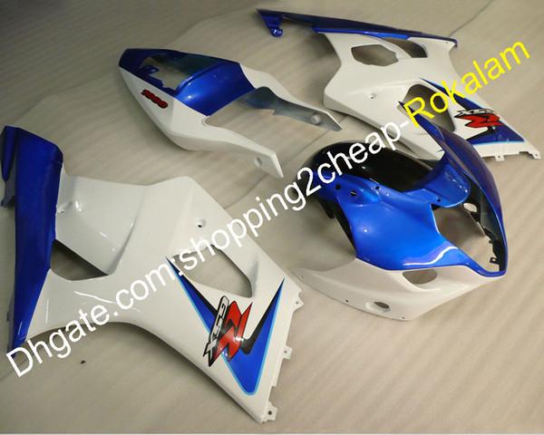 03 04 GSXR 1000 Verkleidungskörper-Kit für Suzuki GSXR1000 2003 2004 GSX-R1000 K3 Rennrad Motorrad Verkleidungen Blau Weiß (Spritzgießen)