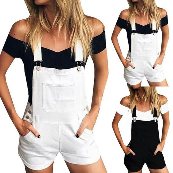 Hxroolrp rompers womens jumpsuit Loose Denim Bib Hole Pants Overalls Jeans Demin Shorts Jumpsuit Romper womens F1