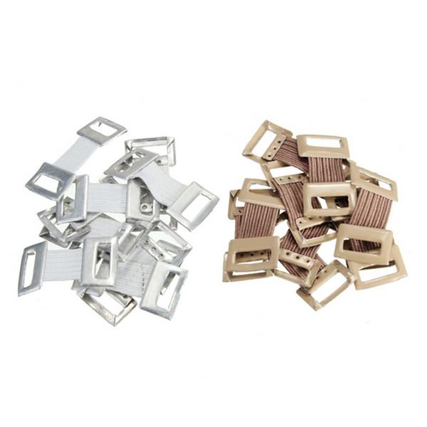 10 Adet / torba Beyaz Kahve Yedek Elastik Bandaj Wrap Streç Metal Klipler Fiksasyon Kelepçeleri Hooks Spor için Ilk Yardım Kiti # 313117