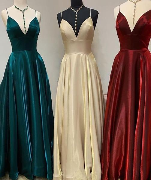 2019 Elegant Spaghetti Straps Bridesmaid Dresses A Line Shining Elastic Silk Like Satin Maid Of Honor Wedding Guest Gowns Cheap Hot Sale