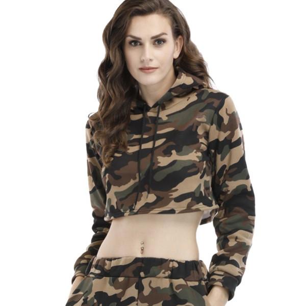 Frauen Camouflage Cropped Hoodies Langarm Kordelzug Mit Kapuze Sweatshirts Harajuku Mode Crop Top Weibliche Herbst Pullover