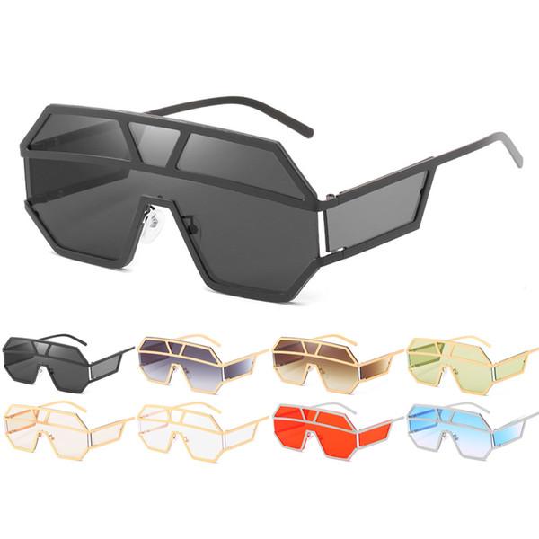Luxury Sunglasses Mulheres Homens Moda Oversized One Piece Sun Óculos Vintage Marca Metal Frame Sunglass Red Shades Eyewear