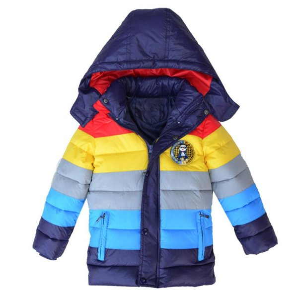 Kids Coat Boys Girls Thick Coat Padded Rainbow Patchwok Winter Jacket Clothes For Children Roupa De Menino Vetement Cocuk Giyim