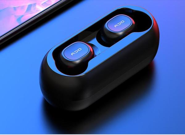 mini QCY QS1 T1C TWS Bluetooth V5.0 EARPHONE Cuffie Sport Auricolari wireless Auricolari stereo 3D nell'orecchio Microfono doppio con scatola di ricarica