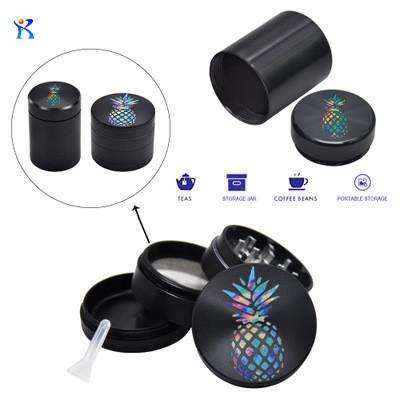 Airtight Pineapple Drawing Box Aluminum Herb Container 4 Layers Smoking Grinder Herb Grinder Portable Pill Box Grinders Kit