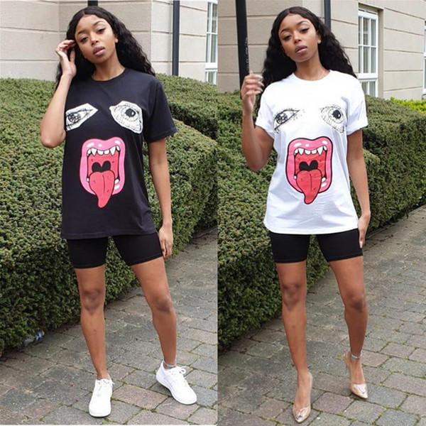 Summer Women T-shirt Cartoon Monster Printed Tops Big Eyes Lips Tees Short Sleeve Round Neck Loose Top Fashion Casual T-shirts S-XL C5602