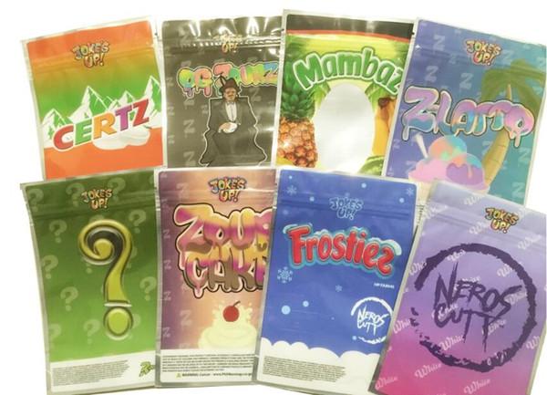 best selling Mix 8 types Joke's up Bags Frostiez Zour cake Neros Cutt MAMBAZ 3.5G Mylar Flower Bag Packaging