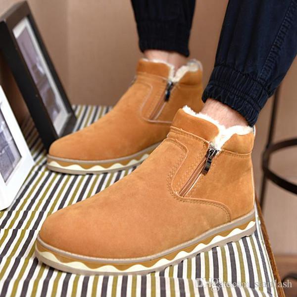 2018 Erkekler Rahat Ayakkabılar Klasik Süet Kış Artı Kadife Sıcak Nefes Ayakkabı Sıcak Kar Yağışı Botları Hafif Ayak Bileği Çizmeler Q-364
